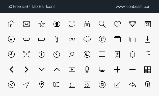 IconBeast Lite 7 | 50 Free iOS 7 Tab Bar Icons for iPhone and iPad