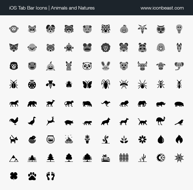 iOS tab bar icons animals and natures