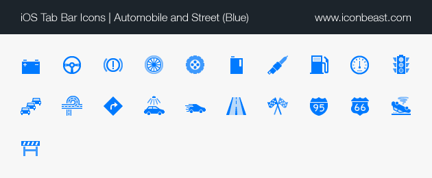 automobile and street iOS tab bar icons blue