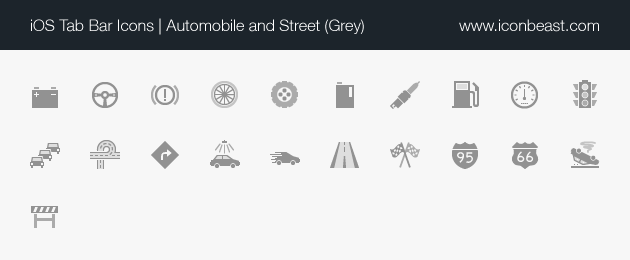 automobile and street iOS tab bar icons grey