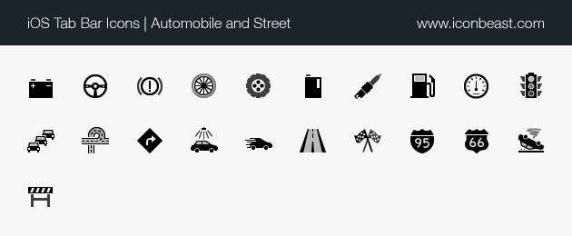 iOS tab bar icons automobile and street