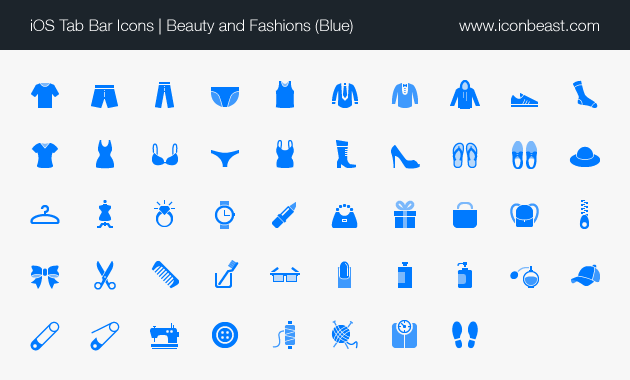beauty and fashions iOS tab bar icons blue