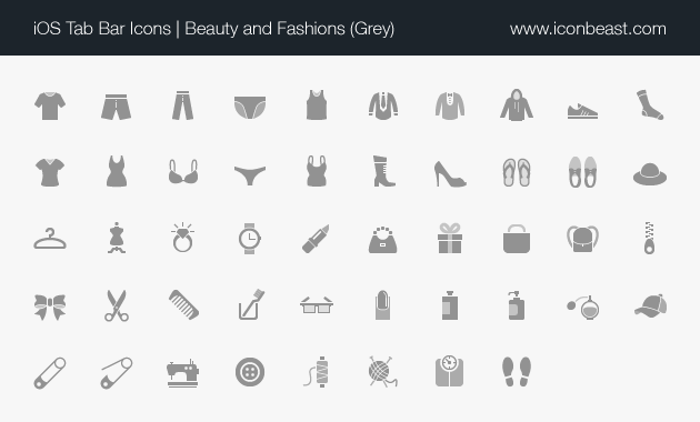 beauty and fashions iOS tab bar icons grey