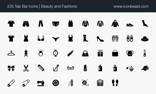 iOS tab bar icons beauty and fashions