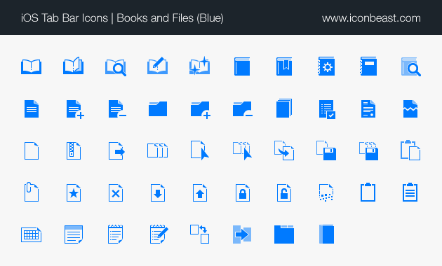 books and files iOS tab bar icons blue