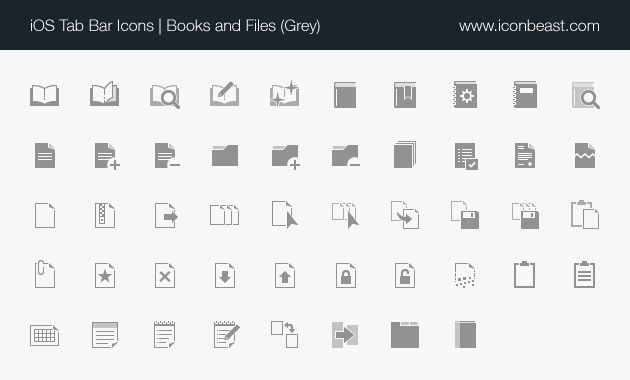 books and files iOS tab bar icons grey