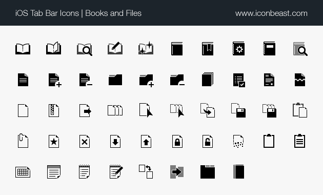 iOS tab bar icons books and files