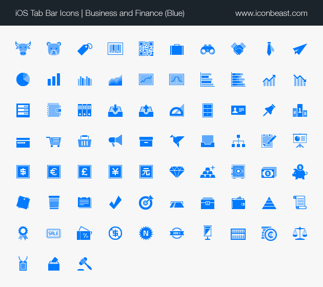 business and finance iOS tab bar icons blue