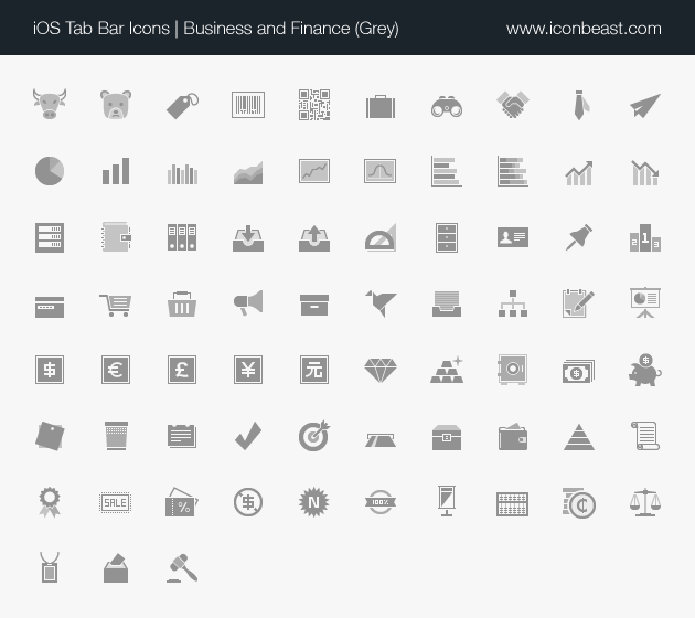 business and finance iOS tab bar icons grey