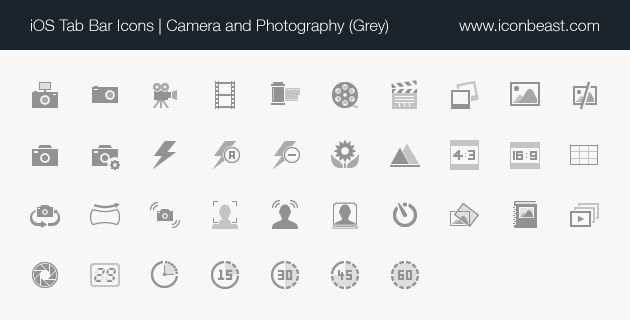 camera and photography iOS tab bar icons grey