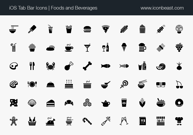 iOS tab bar icons foods and beverages