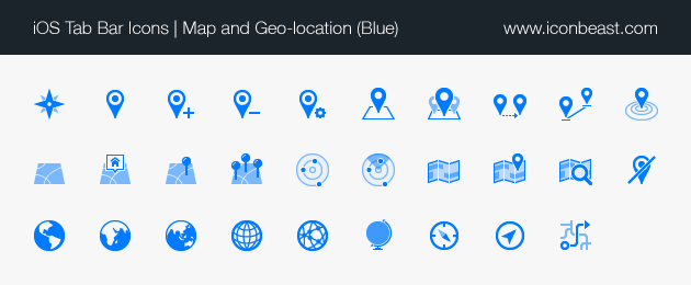 map and geo-location iOS tab bar icons blue