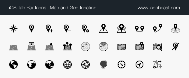 iOS tab bar icons map and geo location