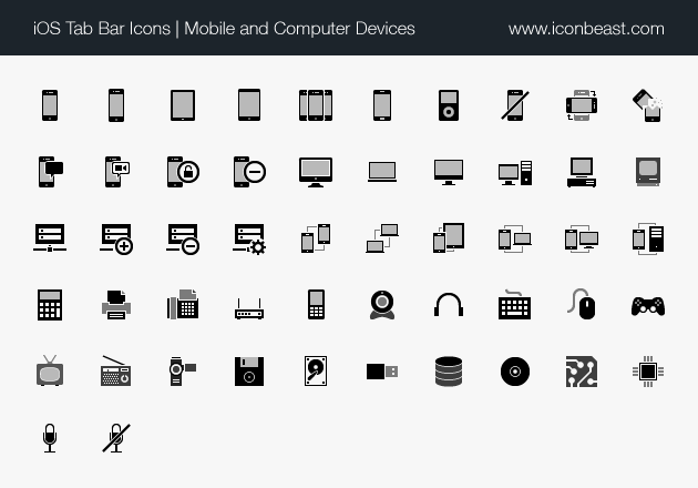 iOS tab bar icons mobile and computer devices