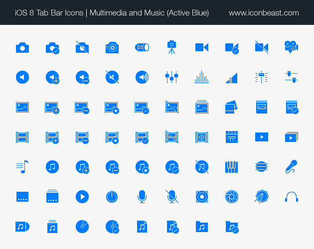 multimedia music iOS tab bar icons blue
