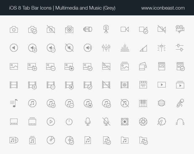 multimedia music iOS tab bar icons black