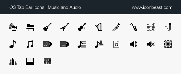 iOS tab bar icons music and audio