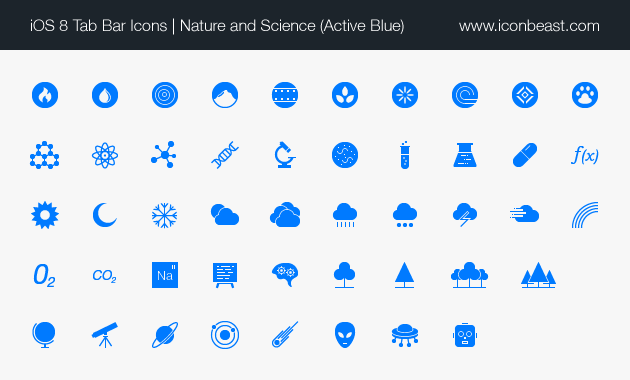 nature science iOS tab bar icons blue