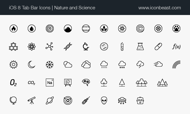 Nature And Science Line Icons Ios Tab Bar Icons