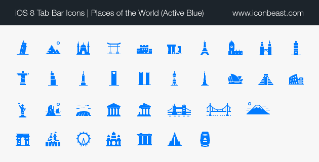 places world iOS tab bar icons blue
