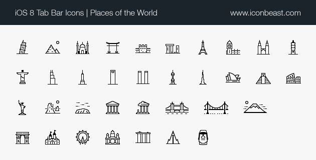 places world iOS tab bar icons black