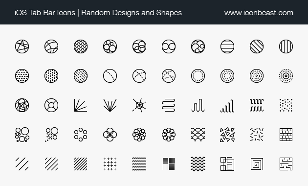 iOS tab bar icons random shapes designs