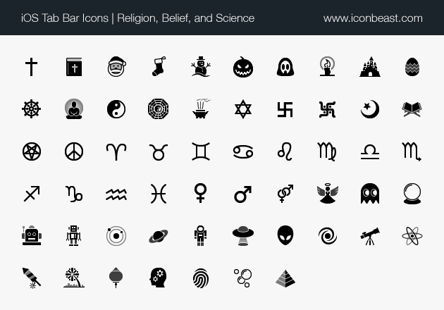 iOS tab bar icons religion, belief, and science