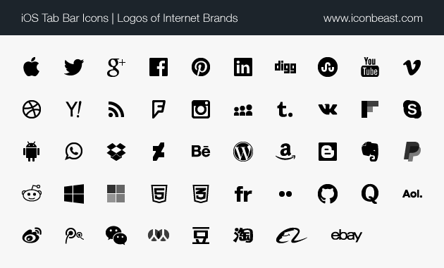iOS tab bar icons social media and internet brand logos