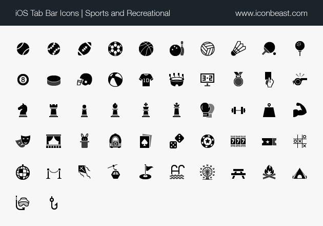 iOS tab bar icons sports and recreational