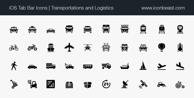 iOS tab bar icons transportations and logistics