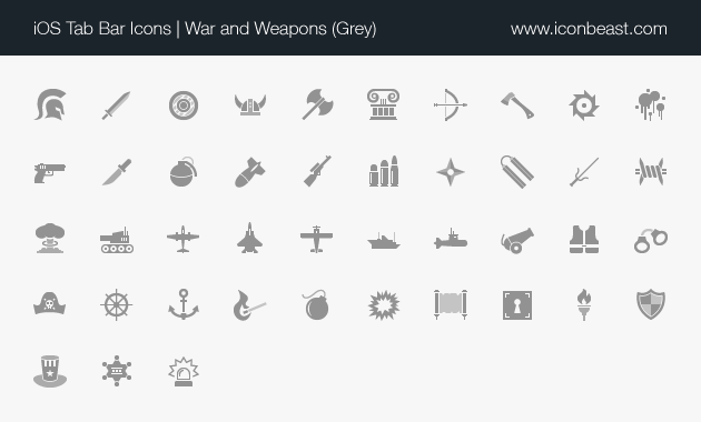 War And Weapons Ios Tab Bar Icons