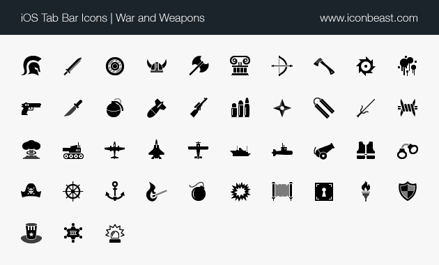 iOS tab bar icons war and weapons