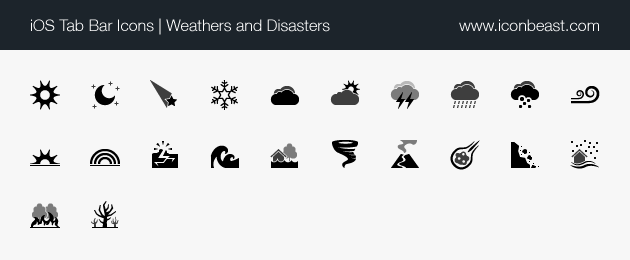 iOS tab bar icons weathers and disasters